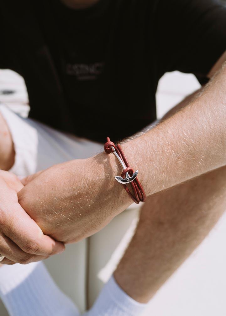 Armband Anker Basic Leder Edelstahl