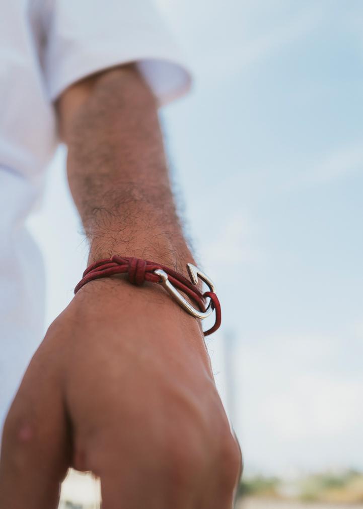Armband Haken Basic Leder Edelstahl