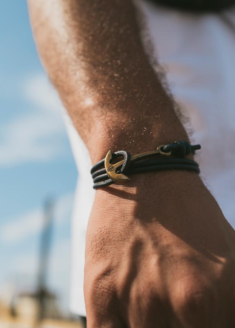 Armband Anker Basic Leder Altgold